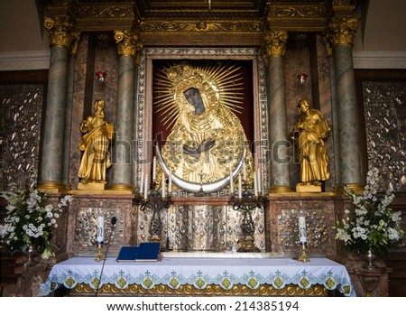 VILNIUS, LITHUANIA - AUGUST 12, 2014: Holy picture of Mother of God, Gate of Dawn - stock photo