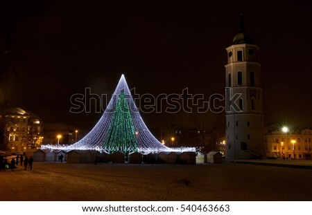 Vilnius, Lithuania - Dec 17,2016: Night view of ornate christmas tree on December 17, 2016 in Vilnius,Lithuania.1994 Vilnius Old Town was included in UNESCO World Heritage List.Christmas in Lithuania