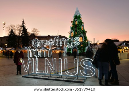 VILNIUS, LITHUANIA - DECEMBER 16: night view of the christmas tree in Vilnius on December 16, 2015 in Vilnius, Lithuania. In 1994 the Vilnius Old Town was included in the UNESCO World Heritage List. - stock photo