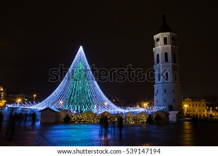 Vilnius, Lithuania - December 17, 2016: Night view of the ornate christmas tree on December 17, 2016 in Vilnius, Lithuania.