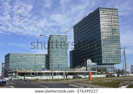VILNIUS, LITHUANIA - FEBRUARY 13, 2016:  New Baltic office building of Norwegian DNB bank building in winter city. Bank was founded in 1822. Bank has  930,000 customers and  balance  EUR 10.0 billion.