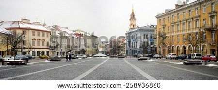 VILNIUS, LITHUANIA - FEBRUARY 10: Vilnius old city center winter Town Hall Square view on February 10, 2015, Vilnius, Lithuania.