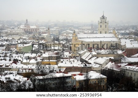 VILNIUS, LITHUANIA - JANUARY 22: Vilnius Winter Panorama From Gediminas Castle Tower on January 22, 2015, Vilnius, Lithuania.