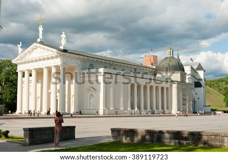 VILNIUS, LITHUANIA - JULY 25, 2015: Cathedral Basilica