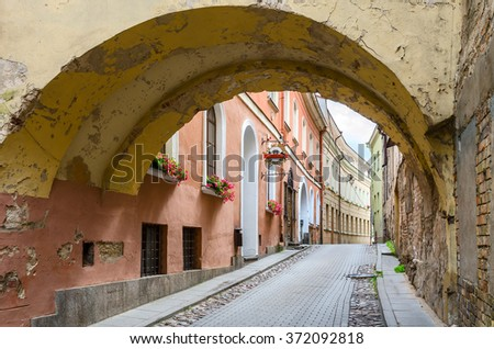 VILNIUS, LITHUANIA - JULY 10, 2015: The narrow streets of the Old Town, Vilnius, Lithuania - stock photo