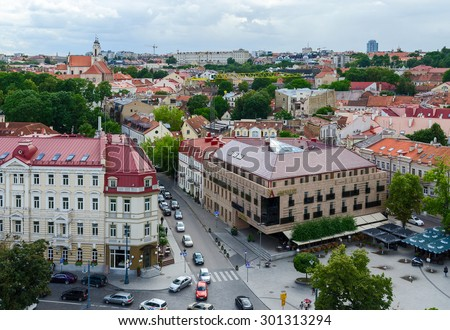 VILNIUS, LITHUANIA - JULY 10, 2015: The view from the observation deck of the bell tower of the Cathedral of St. Stanislaus and St. Vladislav on the Old Town, Vilnius