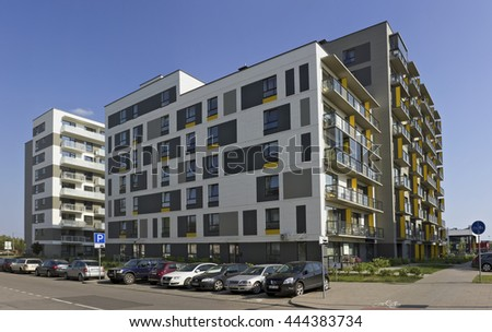 VILNIUS, LITHUANIA - JUNE 26, 2016: The new modern standard modular house with low cost small-sized apartments for young families. It is the ecological region  Pilaite of the Lithuanian capital - stock photo
