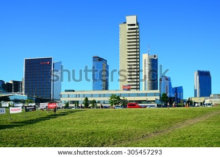 VILNIUS, LITHUANIA - JUNE 6 : Vilnius city new skyscrapers view on June 6, 2015, Vilnius, Lithuania.