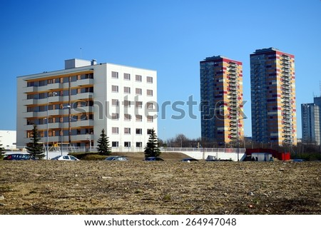 VILNIUS, LITHUANIA - MARCH 17: New houses in Vilnius city Justiniskes district on March 17, 2015, Vilnius, Lithuania.