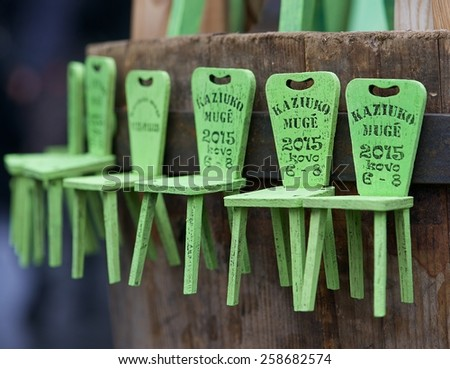 VILNIUS, LITHUANIA - MARCH 7: Traditional hand crafts in annual traditional crafts fair - Kaziuko fair on Mar 7, 2015 in Vilnius, Lithuania - stock photo