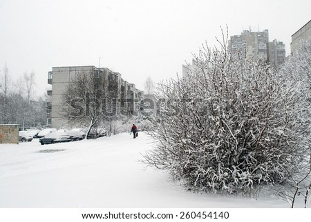 VILNIUS, LITHUANIA - MARCH 5: Winter snowfall in capital of Lithuania Vilnius city Seskine district on March 5, 2015, Vilnius, Lithuania.