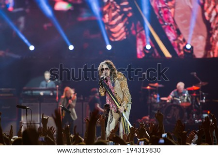 VILNIUS, LITHUANIA - MAY 21: American rock band Aerosmith performs on stage during their Global Warming World Tour concert on May 17, 2014 in Vilnius, Siemens Arena, Lithuania. - stock photo