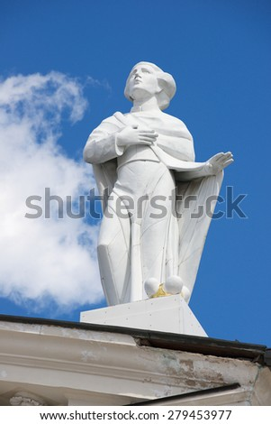 VILNIUS, LITHUANIA - MAY 02, 2015: Exterior of the sculpture at the roof top of the Cathedral in Vilnius, Lithuania.