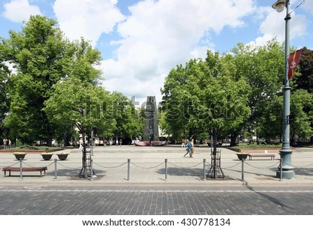 VILNIUS, LITHUANIA - MAY 29, 2016: The monument to the famous poet of Vincas Kudirka in the square on the avenue of a name of the prince Gediminas. Kudirka - author of words of the anthem of Lithuania - stock photo