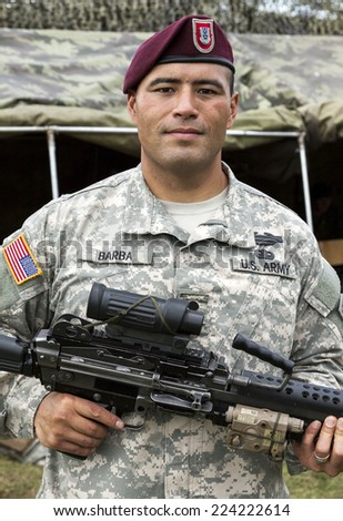 VILNIUS, LITHUANIA - MAY 17, 2014: US army air-force soldier during Public and Military Day Festival on May 17, 2014 in Vilnius, Lithuania. - stock photo