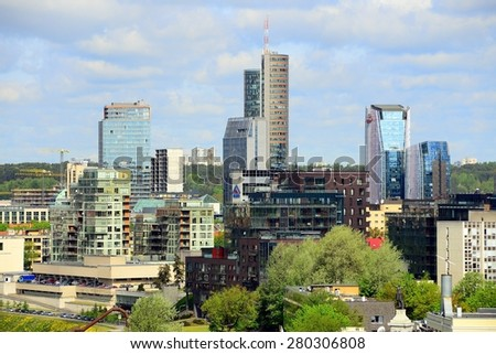VILNIUS, LITHUANIA - MAY 12: View from Gediminas castle to the new Vilnius on May 12, 2015, Vilnius, Lithuania.