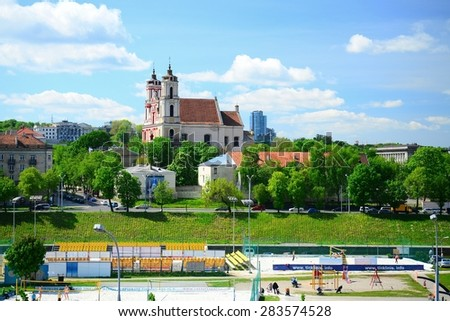 VILNIUS, LITHUANIA - MAY 12: Vilnius archangel church on the board river Neris on May 12, 2015, Vilnius, Lithuania.