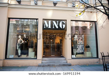 VILNIUS, LITHUANIA - OCT 28, 2013: Mango store in Vilnius on Oct. 28, 2013. Mango is an international clothing design retail chain with 10,000 employees, 2,300 stores in 107 countries worldwide.