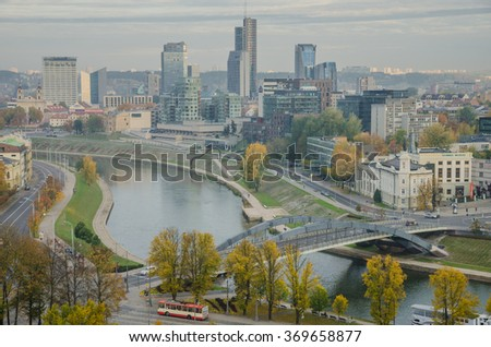 Vilnius, Lithuania - October 9, 2014: The New City of Vilnius as seen from Gediminas Hill on a misty autumn morning