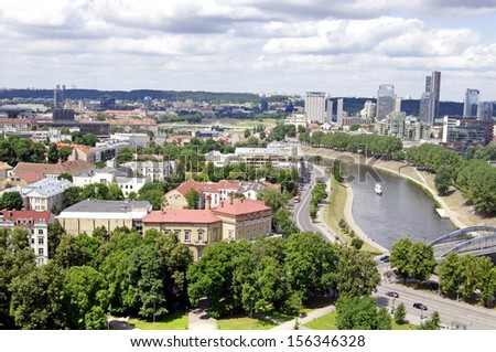Vilnius, Lithuania. Top view of the old city and the new modern houses.