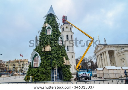 Vilnius, Lithuania. Workers decorating Christmas Eve at the city center by the cathedral in Vilnius. Taken on 2015/11/24