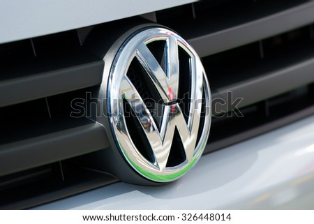 VILNIUS - MAY 9: Close-up of VW logo on May 9, 2014 in Vilnius, Lithuania. Volkswagen is a German automobile manufacturer and the biggest German automaker and the third largest automaker in the world. - stock photo