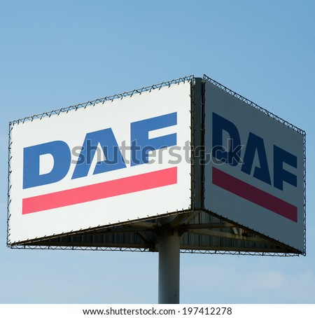 VILNIUS - MAY 27: DAF sign on May 27, 2014 in Vilnius, Lithuania. DAF Trucks NV is a Dutch truck manufacturing company and a division of PACCAR, (Pacific Car and Foundry Company).