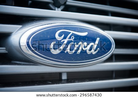 VILNIUS-MAY 9: Ford Sign Close-Up on May 9, 2014 in Vilnius, Lithuania. The Ford Motor Company is an American multinational automaker. Ford is the second-largest U.S.-based automaker. - stock photo