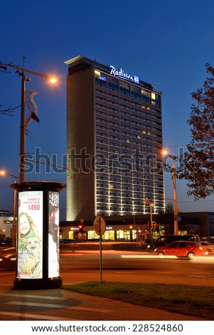 VILNIUS, NOVEMBER 05: Radisson Blu Hotel Lietuva on November 05, 2014 in Vilnius, Lithuania. Radisson Hotels is an international hotel company with more than 420 locations in 73 countries
