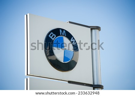 VILNIUS - OCT 2: BMW dealership logo on Oct. 2, 2014 in Vilnius, Lithuania. BMW AG - Bayerische Motoren Werke AG is a German automobile, motorcycle and engine manufacturing company founded in 1916. - stock photo