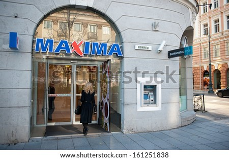 VILNIUS-OCT 28: MAXIMA store on Oct. 28, 2013 in Vilnius, Lithuania. Maxima is a retail chain operating 478 stores in Lithuania, Latvia, Estonia, and Bulgaria. It is the largest Lithuanian company.