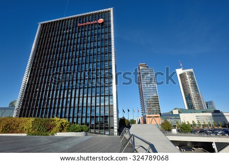 VILNIUS, OCTOBER 06: The Head Office of Swedbank on October 06, 2015 in Vilnius, Lithuania. Swedbank is the leading bank in Sweden, Estonia, Latvia and Lithuania.