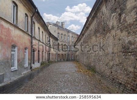 Vilnius old town streets in the fall - stock photo