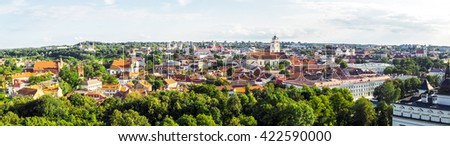 Vilnius Old Town top view, Lithuania (Panorama from multiple frames)