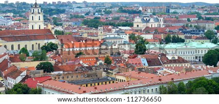 Vilnius panorama, Lithuania, Old city architecture - stock photo