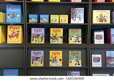VIMMERBY, SWEDEN - FEB 20: Astrid Lindgren's books displayed in a bookstore, February, 20 2012.