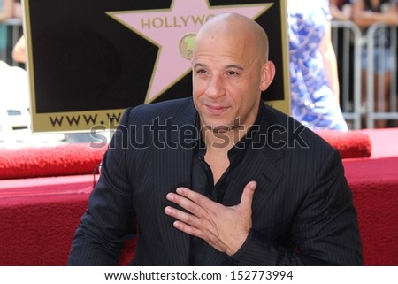 Vin Diesel at the Vin Diesel Star on the Hollywood Walk of Fame Ceremony, Hollywood, CA 08-26-13 - stock photo