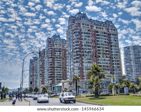 VINA DEL MAR, CHILE - FEBRUARY 12: Line of modern residential skyscrapers on the coastline on February 12, 2011 in Vina del Mar, Chile. Main tourist destination in Chile, an hour from capital Santiago - stock photo