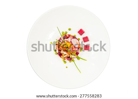 Vinaigrette or Vinegret on plate isolated on white background