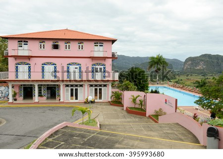 Vinales, Cuba . 24 january 2016: the colonial style hotel Las Jazmine in the valley of Vinales on Cuba