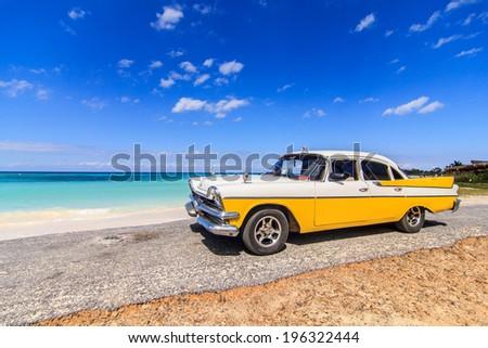 American Classic Car On Beach Cayo Stock Photo