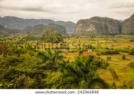 VINALES VALLEY, CUBA - JANUARY 19, 2013. Panoramic landscape view over farm fields in Vinales Valley, Pinar Del Rio province in Cuba, famous for tobacco plantations, caves and Valley itself. - stock photo