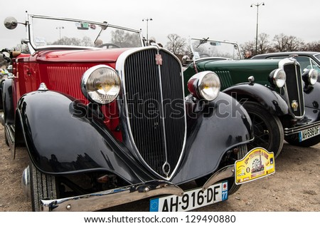 VINCENNES, FRANCE - JANUARY 6: Fiat Simca takes part in antique cars exhibition on January 6, 2013 in Vincennes, France. - stock photo
