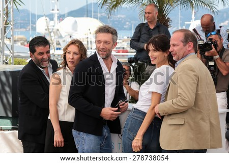 Vincent Cassel, Emmanuelle Bercot, Maiwenn Le Besco and Louis Garrel attend the 'Mon Roi' photocall during the 68th annual Cannes Film Festival on May 17, 2015 in Cannes, France. - stock photo
