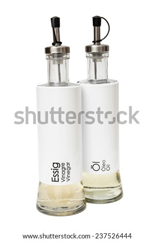 Vinegar and oil bottles isolated on a white background. - stock photo