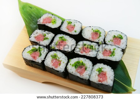 Vinegary rice rolled in dried laver/Norimaki/Japanese food