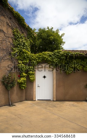 Vineyard, California, vines, white doorway, blue sky and fluffy white clouds - stock photo