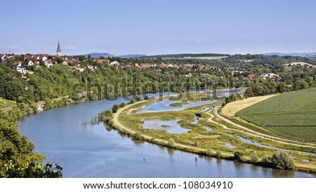 Vineyard with the river Neckar, Stuttgart (Poppenweiler) - stock photo