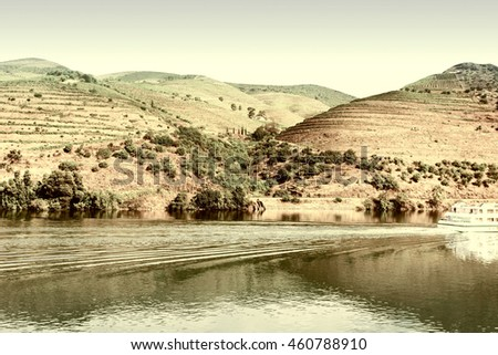 Vineyards in the Valley of the River Douro in Portugal, Vintage Style Toned Picture - stock photo