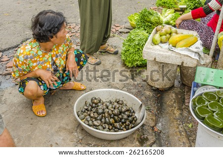 VINH LONG, VIETNAM, JANUARY 3, 2013: Local woman sells snails on the street in Vinh Long market